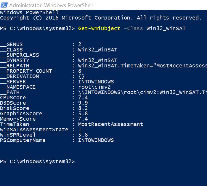 obtener el índice de experiencia de Windows en Windows 10