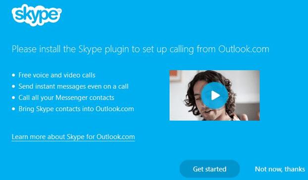 Hacer videollamadas de Skype desde la imagen del sitio web de Outlook