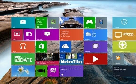 Pantalla de inicio en Windows 8.