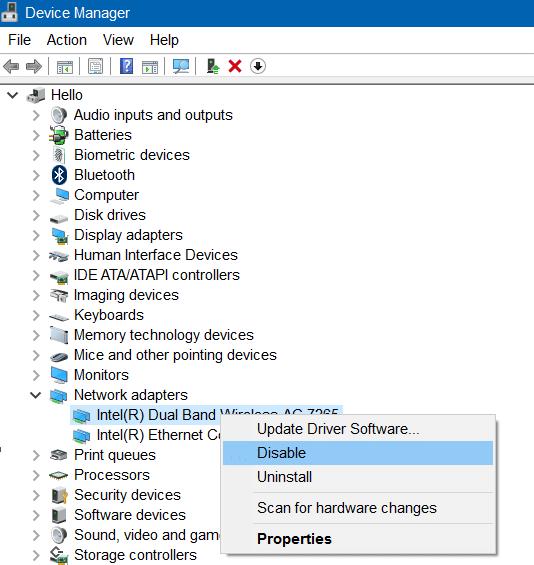 Wi Fi no se conecta después del modo de suspensión en Windows 10 step01