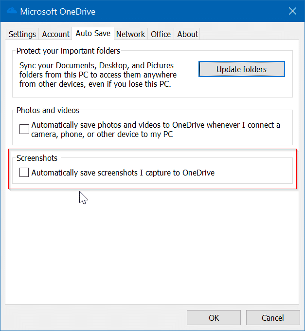 Windows 10 no guarda capturas de pantalla en la carpeta Capturas de pantalla pic2