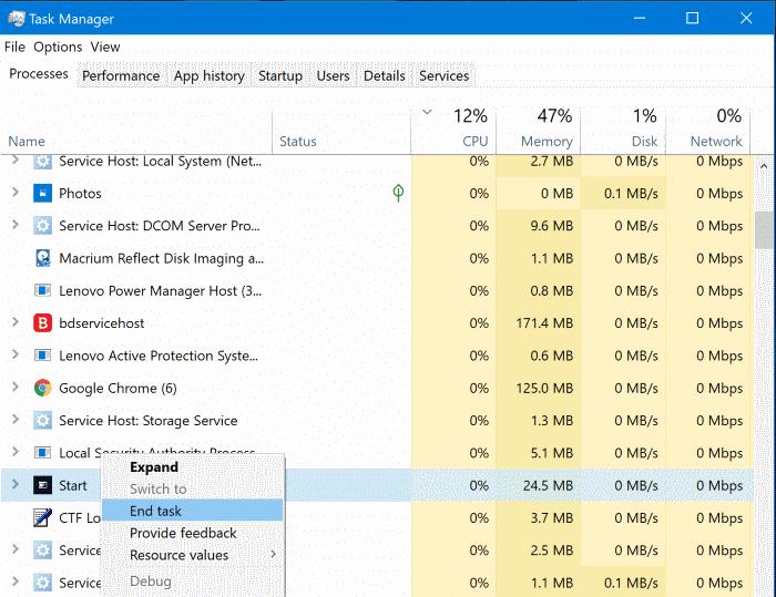 el menú de inicio no funciona en Windows 10 pic2