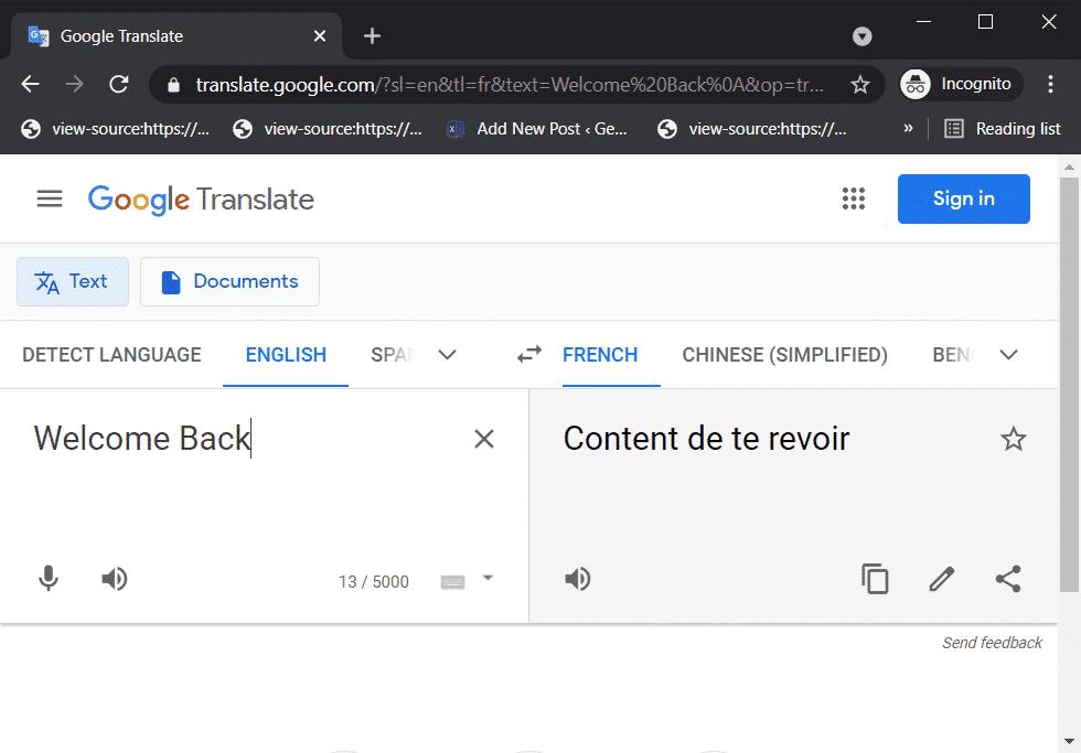 Traductor de Google en línea