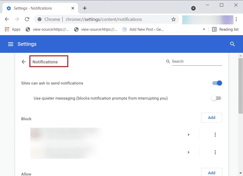Pestaña de notificación