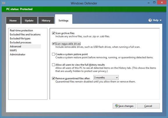 Escanear archivos con Windows Defender en Windows 8