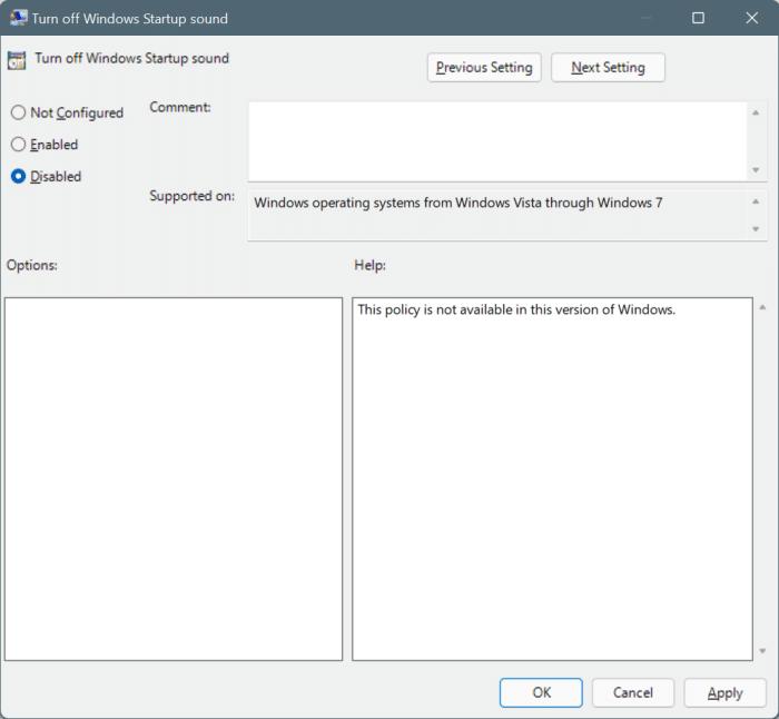 habilitar o deshabilitar el sonido de inicio en Windows 11 pic6