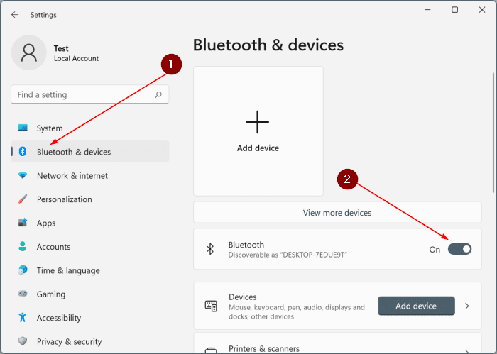 activar o desactivar bluetooth en Windows 11 pic3